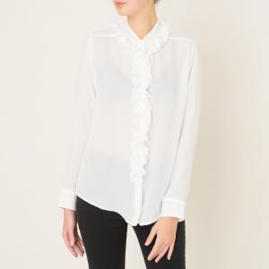 Рубашка из шелка с воланами THE KOOPLES. Цвет: экрю