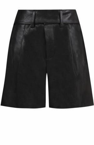 Кожаные мини-шорты с защипами Saint Laurent. Цвет: черный