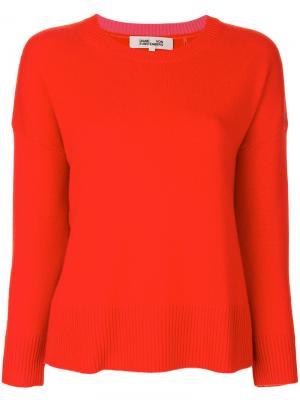 Ребристый свитер с круглым вырезом Diane Von Furstenberg. Цвет: красный