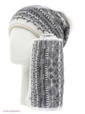 Шапка, шарф Vita pelle. Цвет: серый, белый, малиновый