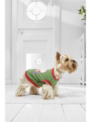 Жилет Рождественское настроение для миниатюрных пород собак весом 2-4 кг и длиной спинки около 25 см Nothing but Love. Цвет: зеленый, белый, темно-красный