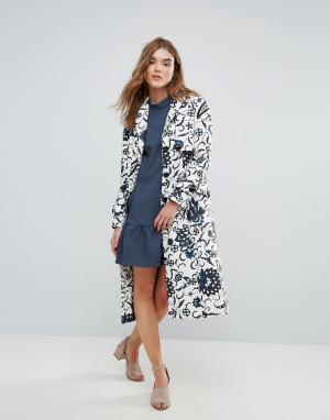 Closet London Шерстяное пальто на пуговицах с принтом. Цвет: мульти