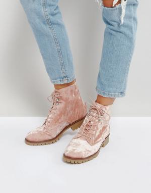QUPID Бархатные ботинки. Цвет: бежевый
