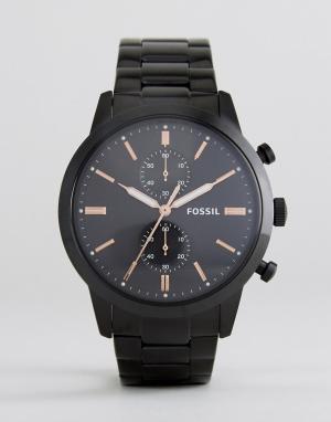 Fossil Черные наручные часы FS5379 Rutherford. Цвет: черный