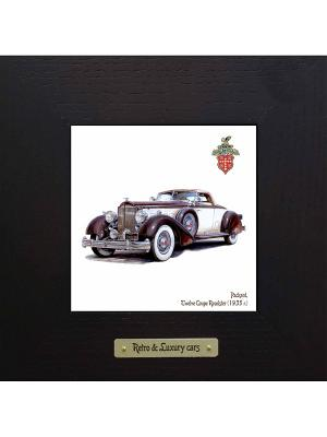 Картина-сувенир Packard, Twelve Coupe Roadster (1935 г.) Ceramic Picture. Цвет: антрацитовый, темно-зеленый