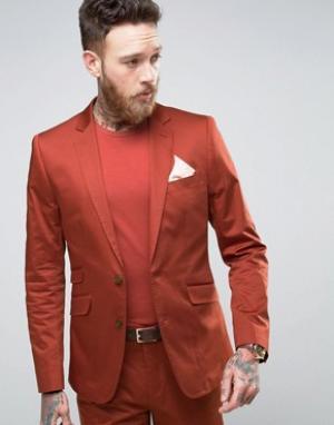 Devils Advocate Темно-оранжевый приталенный пиджак из хлопкового сатина Advocat. Цвет: коричневый