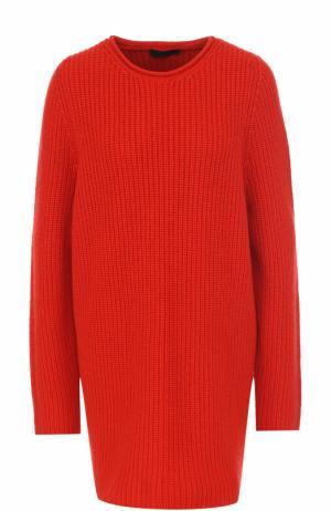 Удлиненный кашемировый пуловер фактурной вязки The Row. Цвет: красный