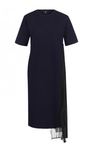 Однотонное хлопковое мини-платье с круглым вырезом Clu. Цвет: синий