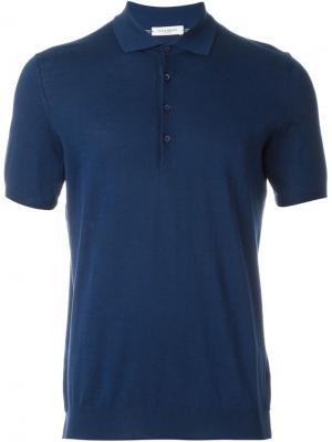 Вязаная футболка-поло Paolo Pecora. Цвет: синий