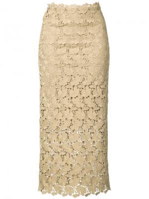 Кружевная юбка средней длины Robert Rodriguez. Цвет: телесный