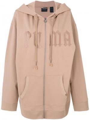 Флисовая толстовка с капюшоном и портупеей Fenty X Puma. Цвет: коричневый