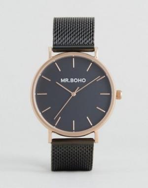 Mr Boho Часы цвета розового золота с черным сетчатым ремешком. Цвет: черный