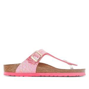 Туфли без задника с рисунком под кожу змеи Gizeh BIRKENSTOCK. Цвет: наб. рисунок/ розовый