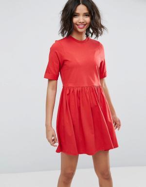ASOS Хлопковое платье мини с присборенной юбкой. Цвет: красный
