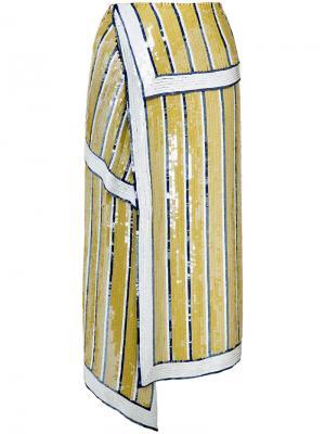 Расшитая пайетками юбка Monse. Цвет: жёлтый и оранжевый