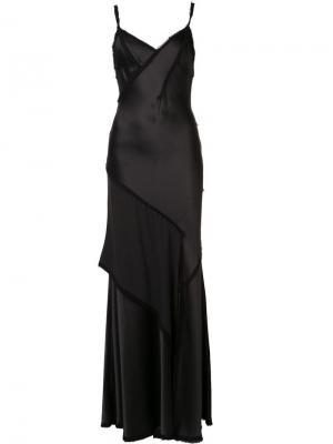 Многоярусное атласное вечернее платье Jason Wu. Цвет: чёрный