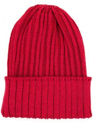 Ribbed beanie hat Kijima Takayuki. Цвет: красный