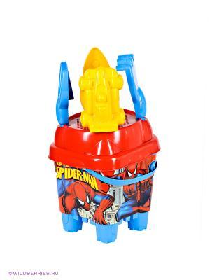 Песочный набор Спайдермен с ведром - крепостью Unice. Цвет: голубой, красный, желтый