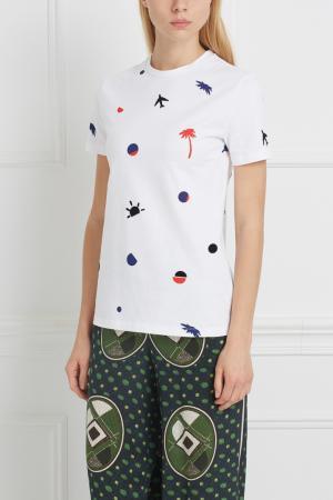 Хлопковая футболка Etre Cecile. Цвет: белый, синий