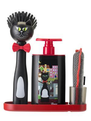 Набор: щетка для посуды, дозатор, губка на подставке VIGAR. Цвет: черный
