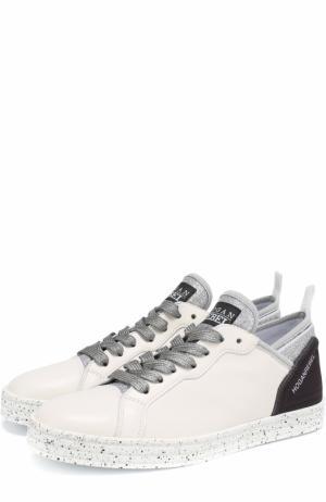 Комбинированные кеды на шнуровке Hogan. Цвет: белый