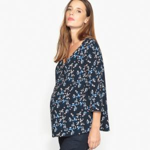Блузка для периода беременности с V-образным вырезом и рукавами 3/4 La Redoute Collections. Цвет: рисунок/фон темно-синий