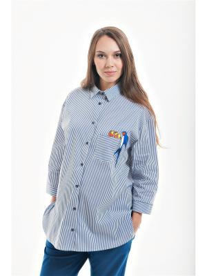Оверсайз блуза для беременных week by. Цвет: синий, белый