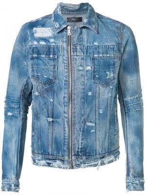 Джинсовая куртка с потертой отделкой Amiri. Цвет: синий