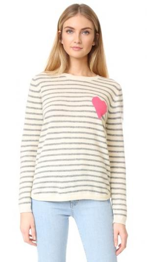 Кашемировый свитер Breton с сердечком Chinti and Parker. Цвет: кремовый/серый/розовый