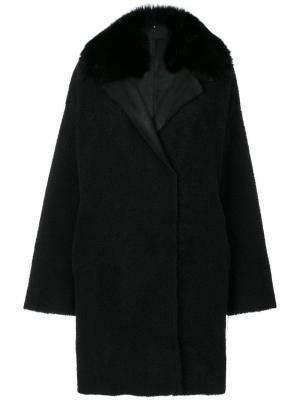 Vintage fur trim coat Guy Laroche. Цвет: чёрный