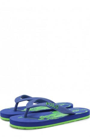 Резиновые шлепанцы с логотипом бренда Polo Ralph Lauren. Цвет: голубой