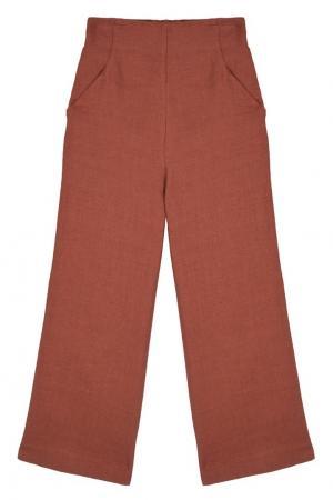 Комбинированные брюки Caramel Baby&Child. Цвет: коричневый