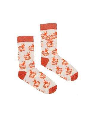 Носки ЗАПОРОЖЕЦ Лук женские. Цвет: белый, оранжевый