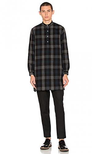 Рубашка на пуговицах из чесанной японской фланели Gitman Vintage. Цвет: синий