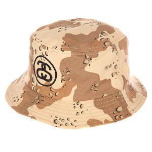 Панама  link Bucket Hat Camo Stussy. Цвет: бежевый,коричневый