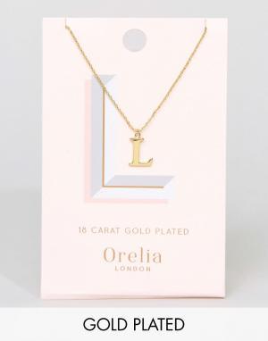 Orelia Позолоченное ожерелье с подвеской в виде буквы L. Цвет: золотой