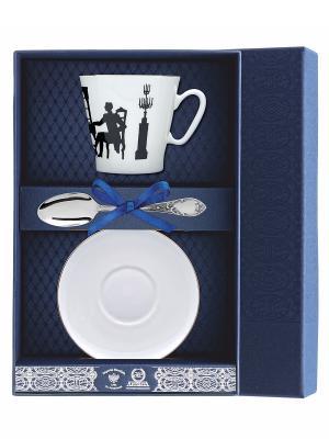 Набор кофейный Черный кофе - Вдвоем 3 предмета + футляр АргентА. Цвет: серебристый