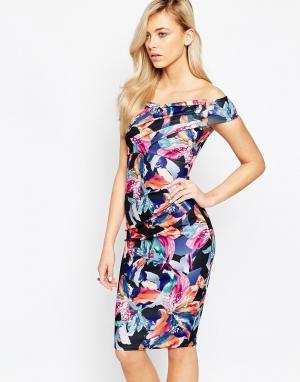 Jessica Wright Платье-футляр с открытыми плечами Cara. Цвет: мульти