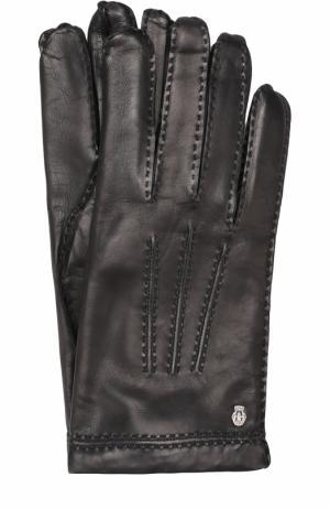 Кожаные перчатки с подкладкой из смеси кашемира и шерсти Roeckl. Цвет: черный