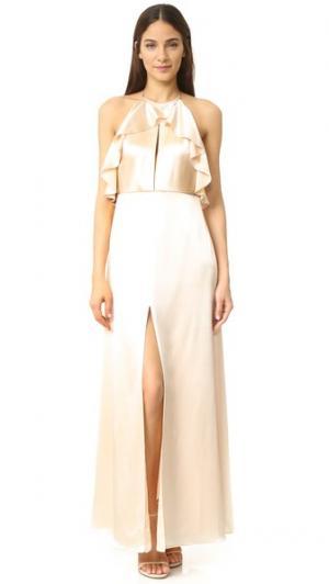 Вечернее платье с оборками Jill Stuart. Цвет: сливочный