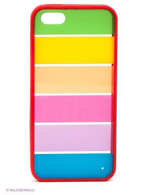 Чехол для iPhone 5/5s Strips with bright red Kawaii Factory. Цвет: красный, желтый, синий, зеленый