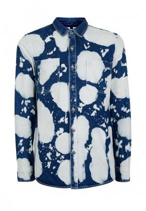 Рубашка джинсовая Topman. Цвет: синий