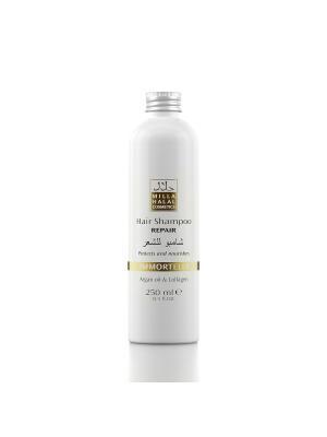 Шампунь для восстановления поврежденных волос с маслом аргании и коллагеном IMMORTELLE MILLA HALAL COSMETICS. Цвет: желтый, белый