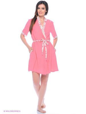 Комплект домашний (халат, сорочка) MARSOFINA. Цвет: коралловый