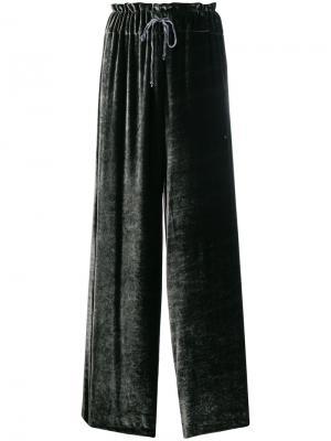 Бархатные брюки клеш Federica Tosi. Цвет: зелёный