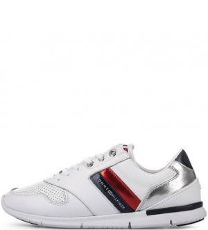 Белые летние кроссовки с втачной стелькой Tommy Hilfiger. Цвет: белый