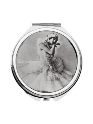 Зеркальце карманное Анна Павлова Chocopony. Цвет: светло-серый, бежевый, белый