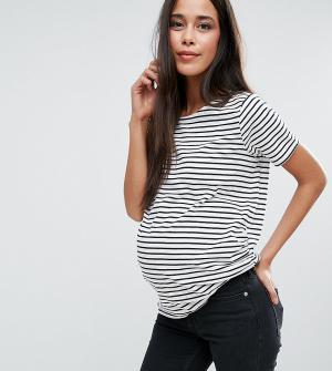 New Look Maternity Футболка в полоску для беременных. Цвет: белый