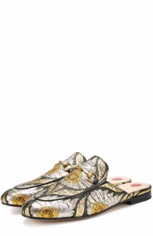 Текстильные сабо Princetown с вышивкой Gucci. Цвет: золотой