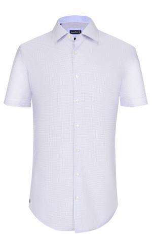 Хлопковая сорочка с короткими рукавами Jacques Britt. Цвет: голубой